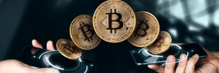 gold coin bitcoin currency blockchain technology banner
